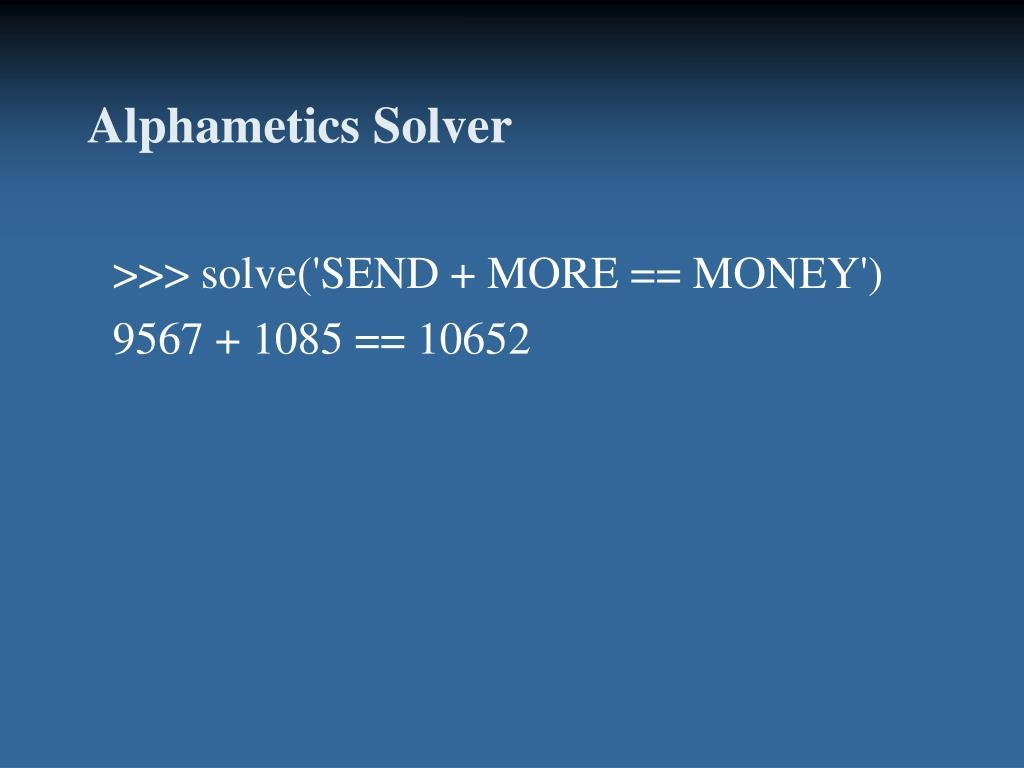Alphametics Solver