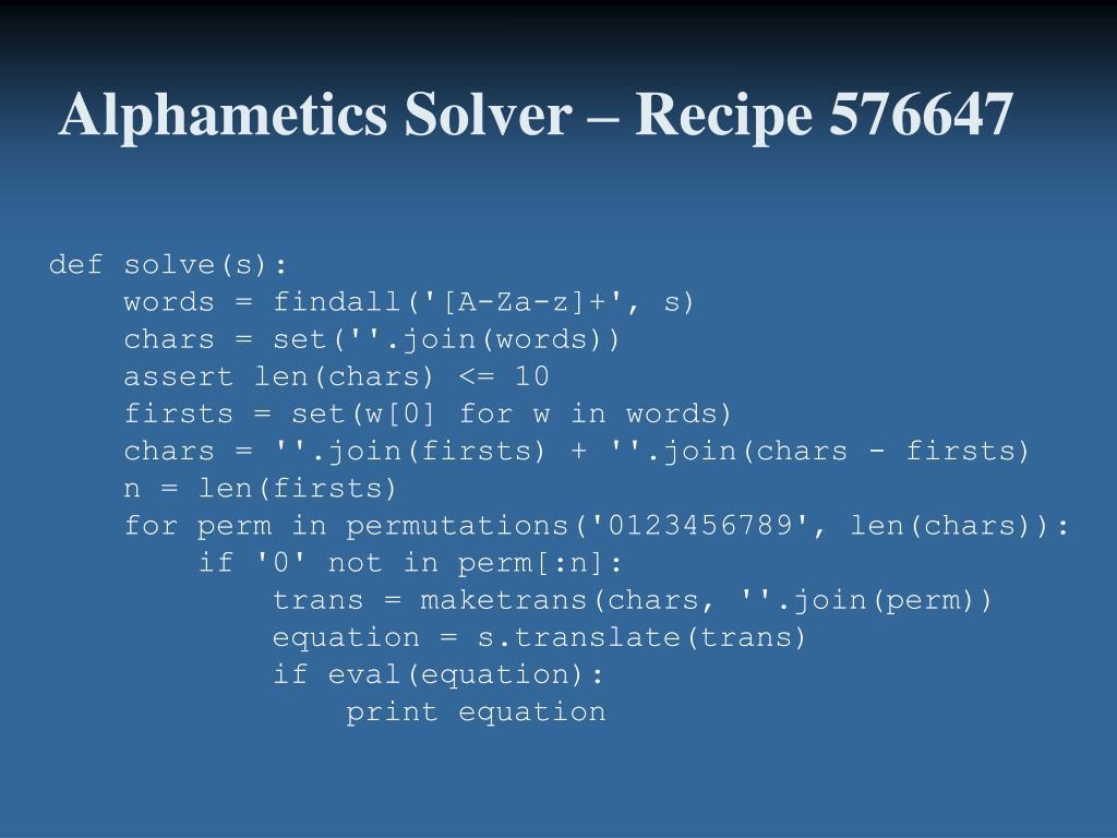 Alphametics Solver – Recipe 576647