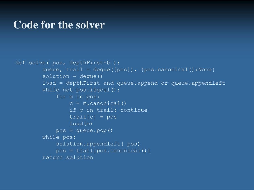Code for the solver
