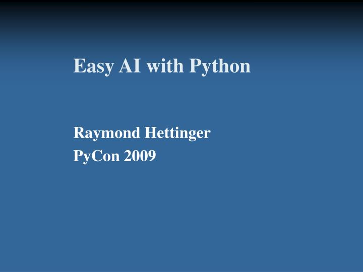 easy ai with python n.