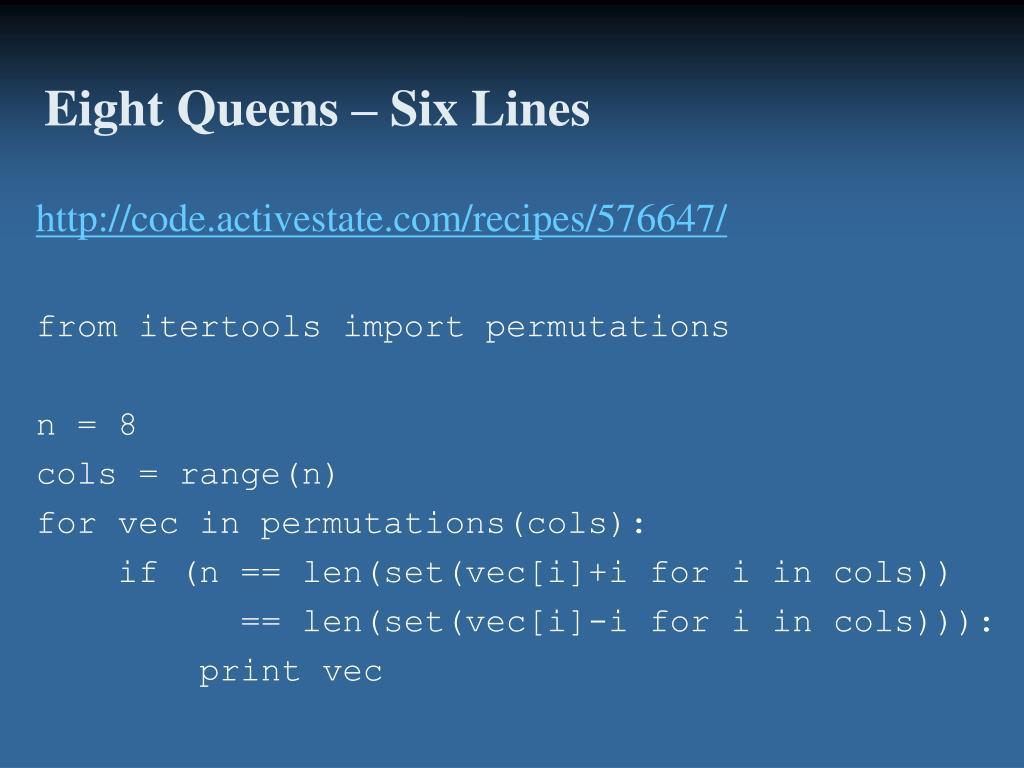 Eight Queens – Six Lines