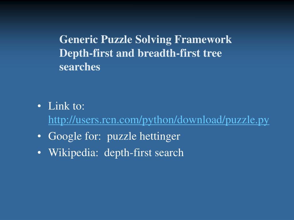 Generic Puzzle Solving Framework