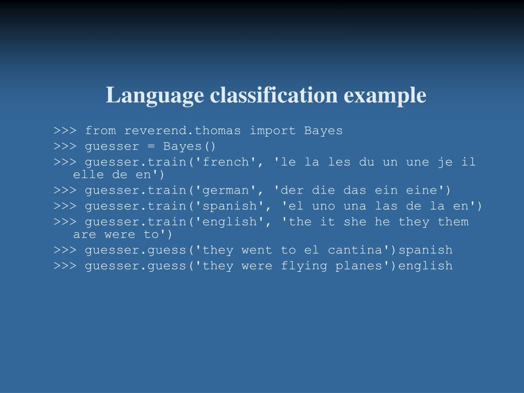 Language classification example