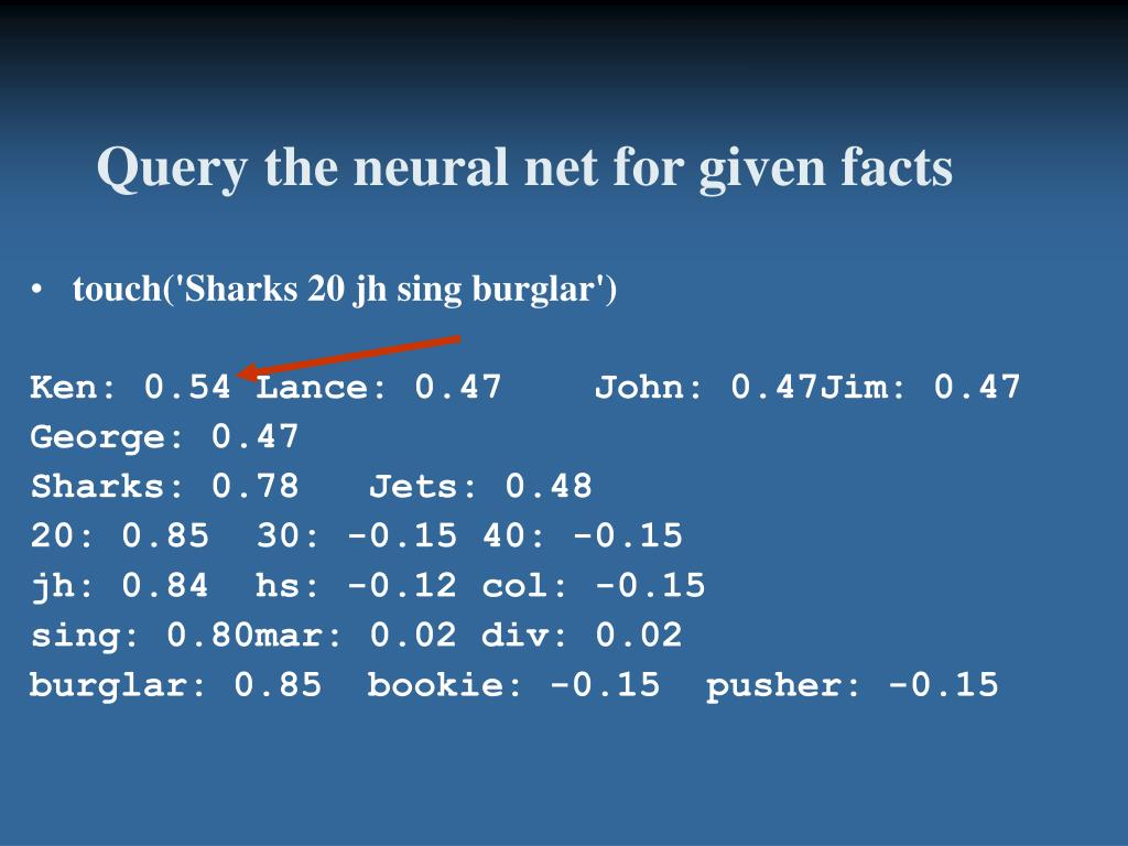 Query the neural net for given facts