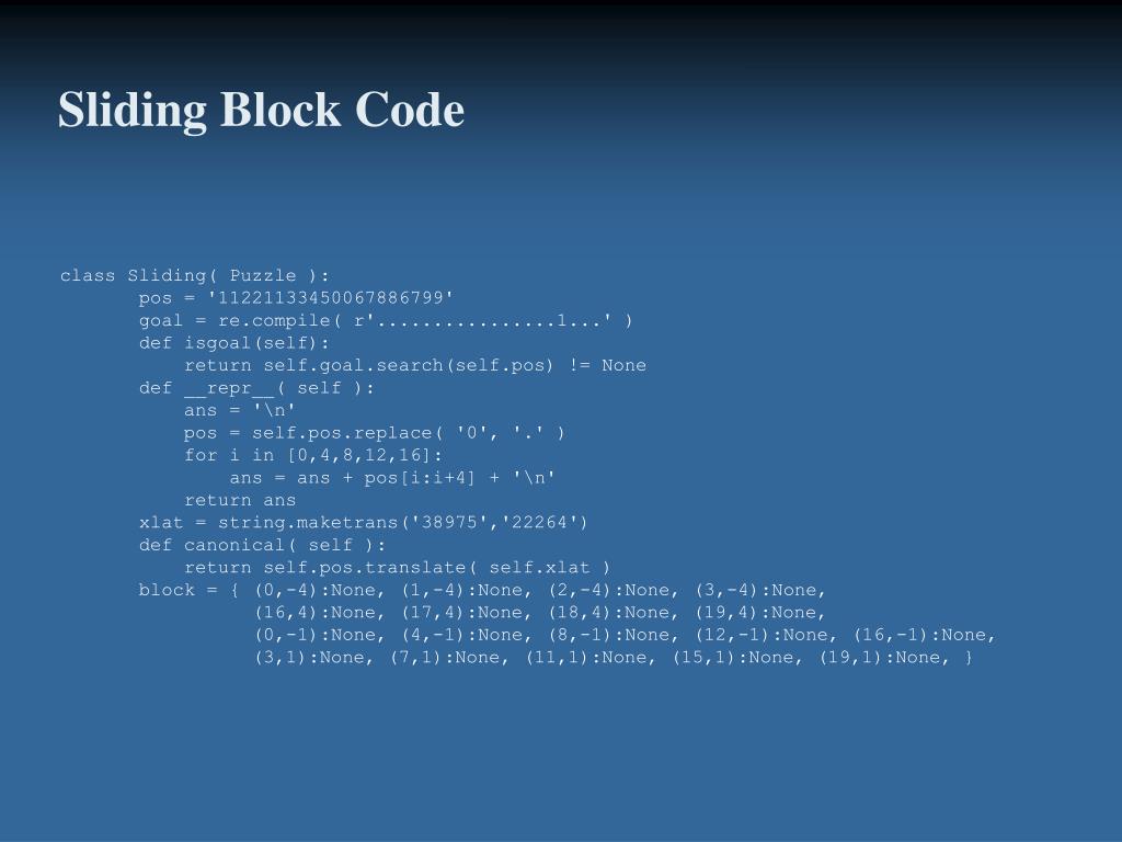 Sliding Block Code