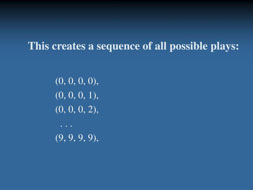 This creates a sequence of all possible plays: