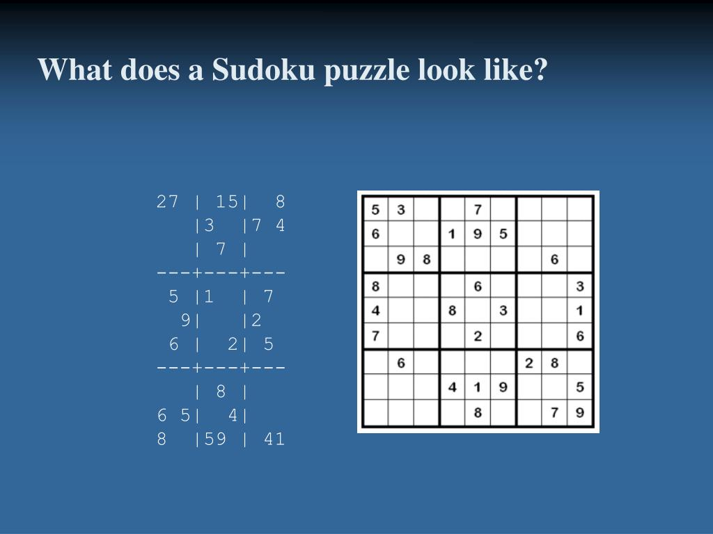 What does a Sudoku puzzle look like?