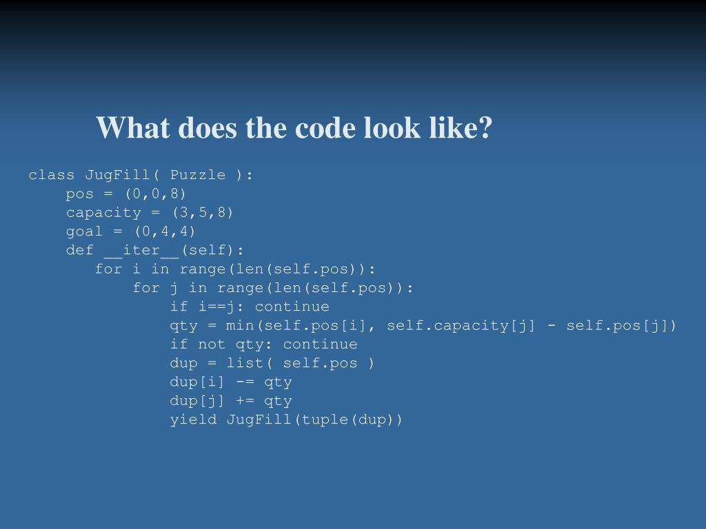 What does the code look like?