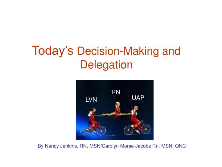 today s decision making and delegation n.