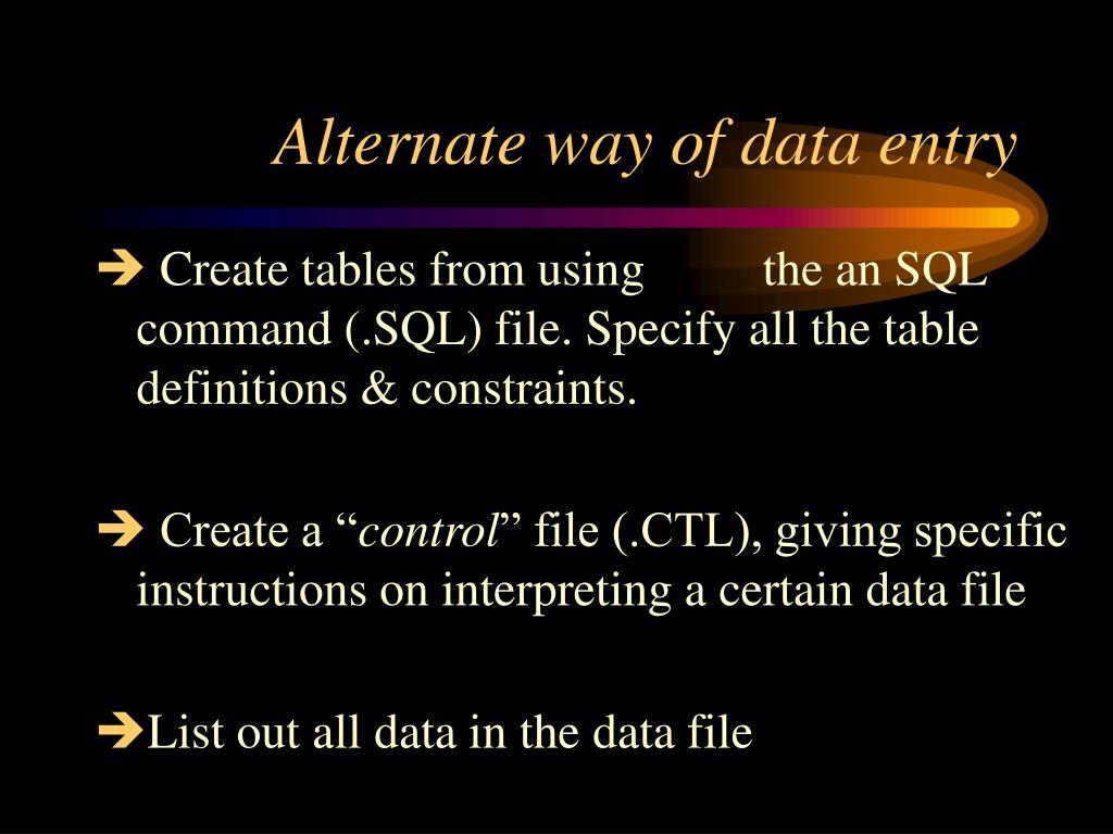 Alternate way of data entry