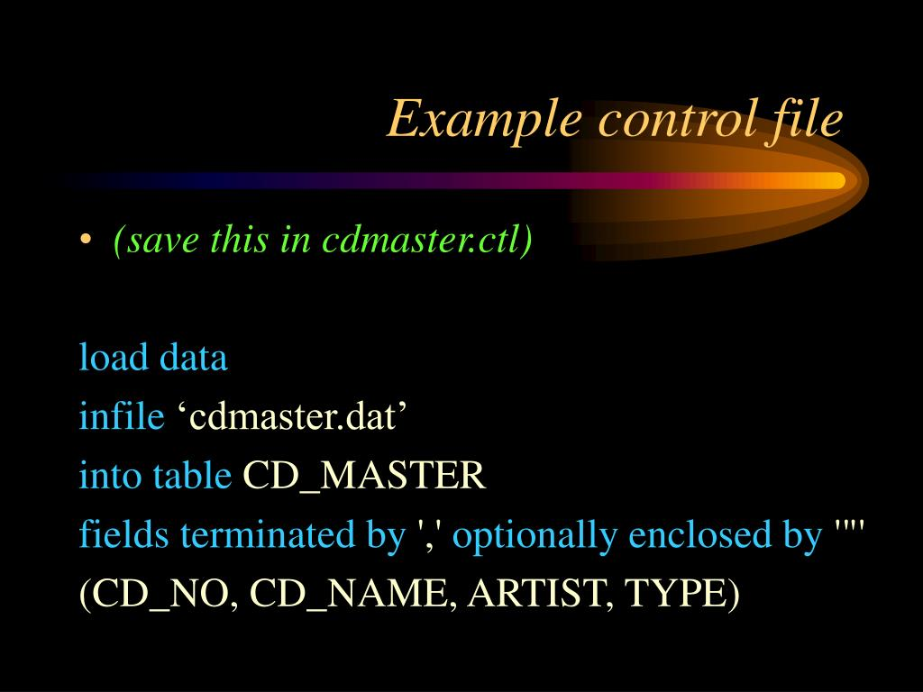 Example control file