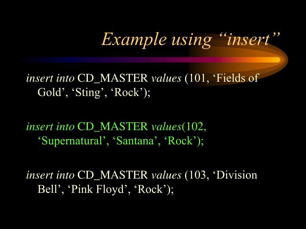 "Example using ""insert"""