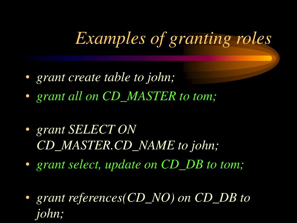 Examples of granting roles