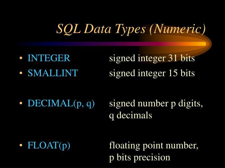 Sql data types numeric