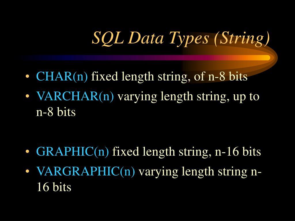 SQL Data Types (String)