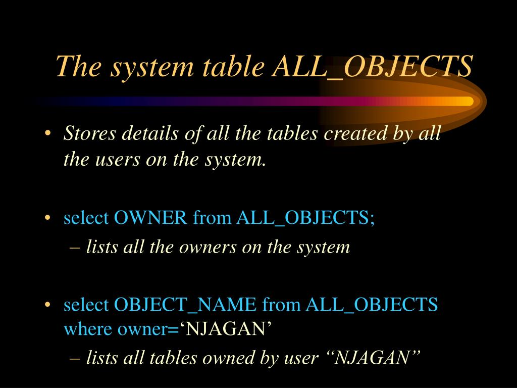 The system table ALL_OBJECTS