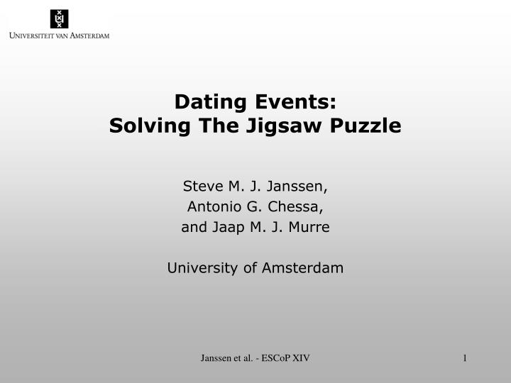 dating events solving the jigsaw puzzle n.
