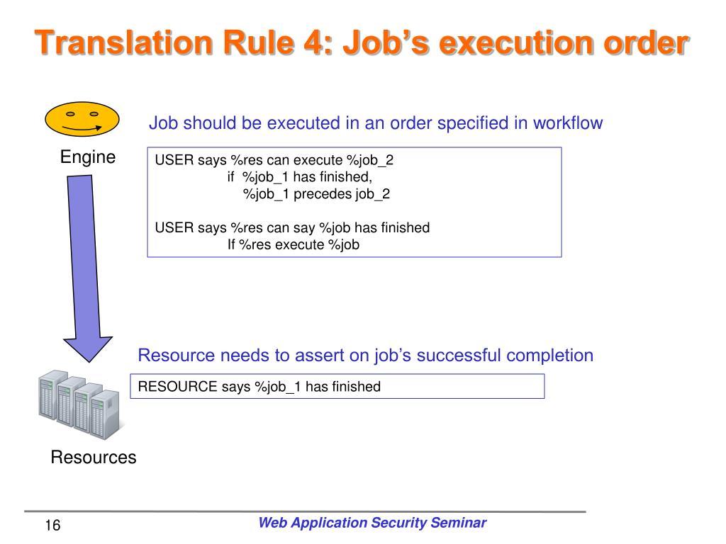 Translation Rule 4: Job's execution order