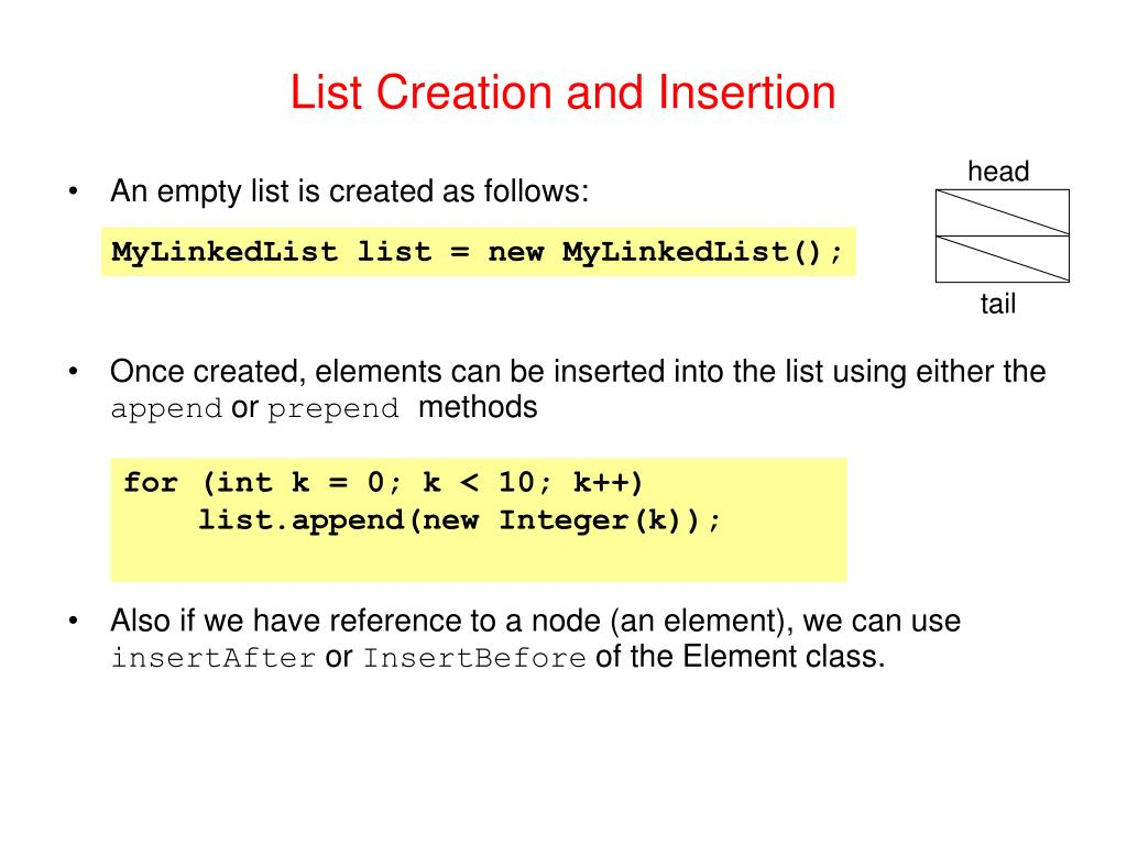 List Creation and Insertion