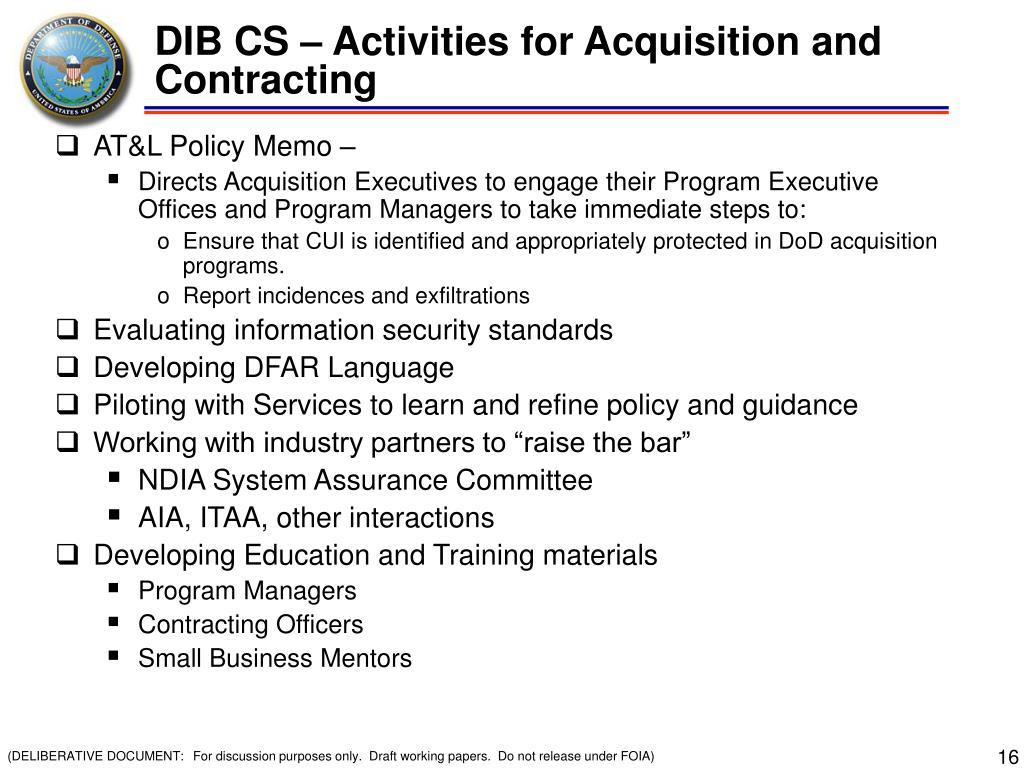 DIB CS – Activities for Acquisition and Contracting
