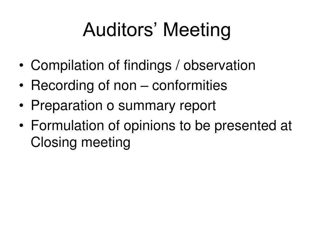 Auditors' Meeting