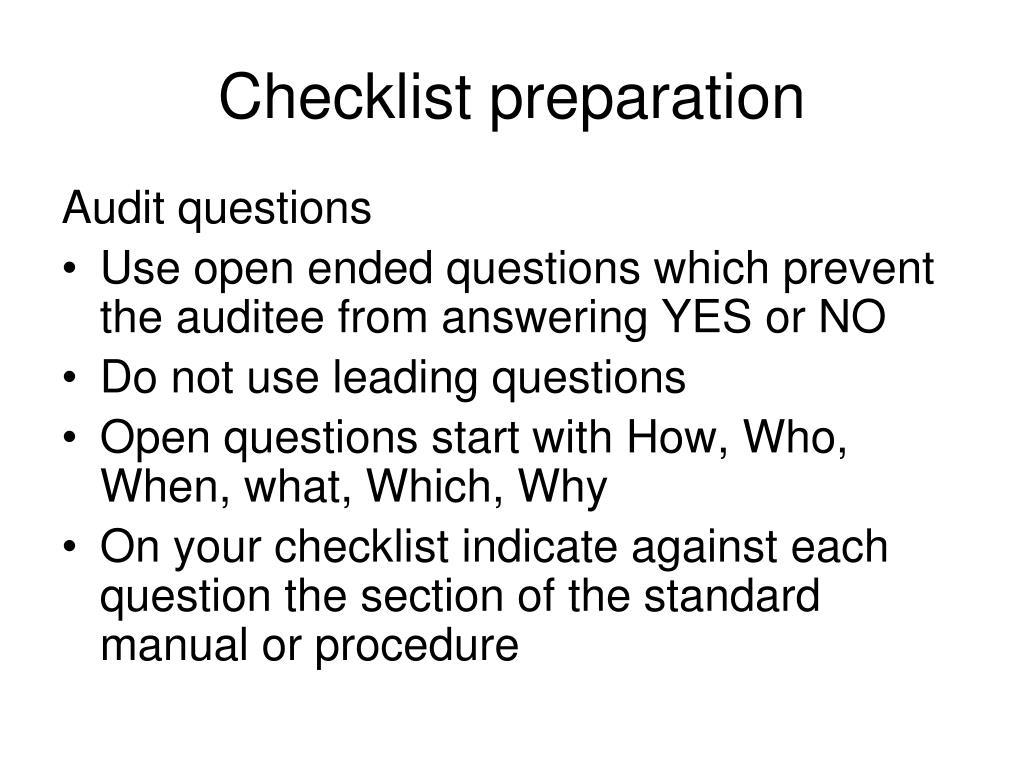 Checklist preparation