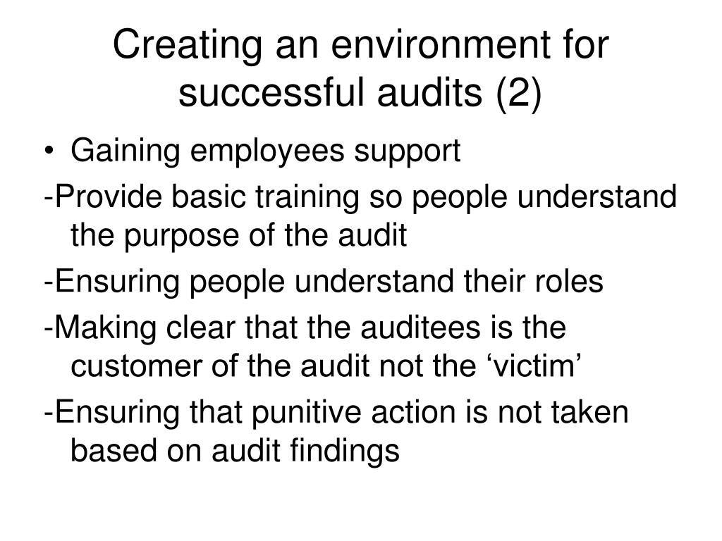 Creating an environment for successful audits (2)