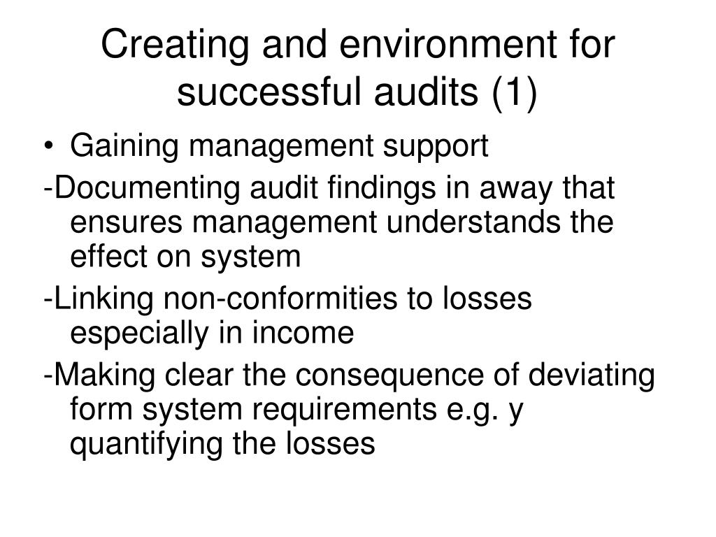 Creating and environment for successful audits (1)