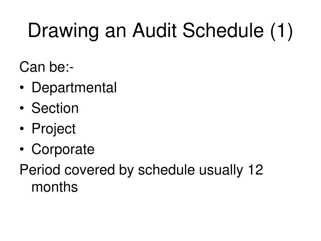 Drawing an Audit Schedule (1)
