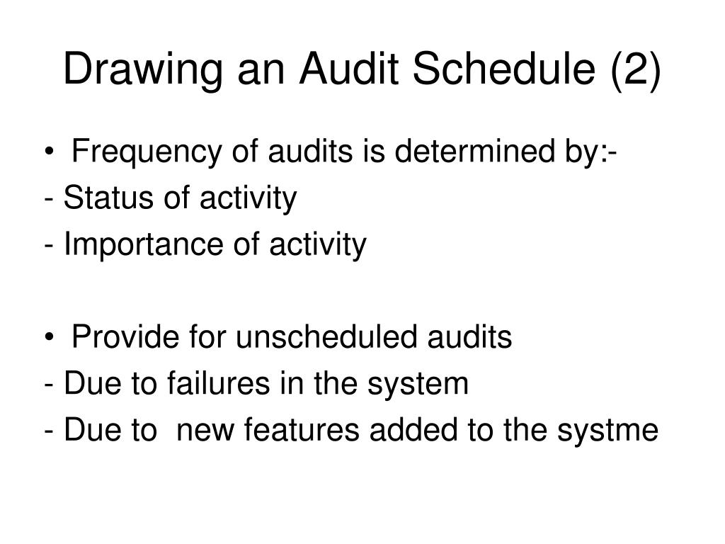Drawing an Audit Schedule (2)