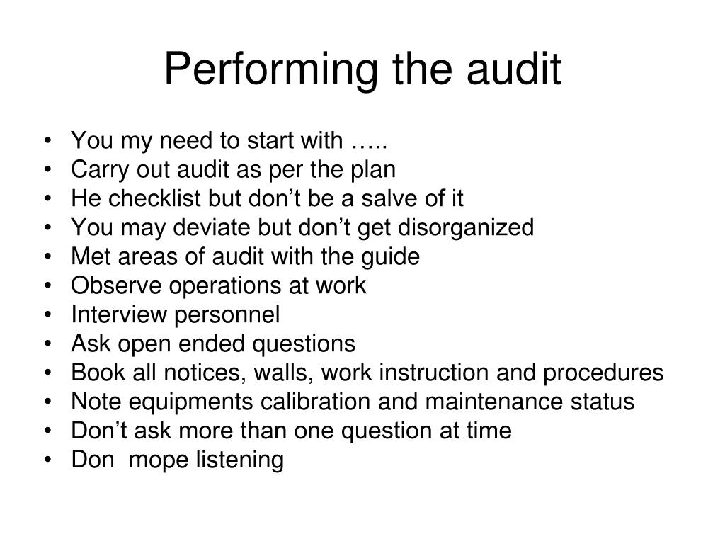 Performing the audit