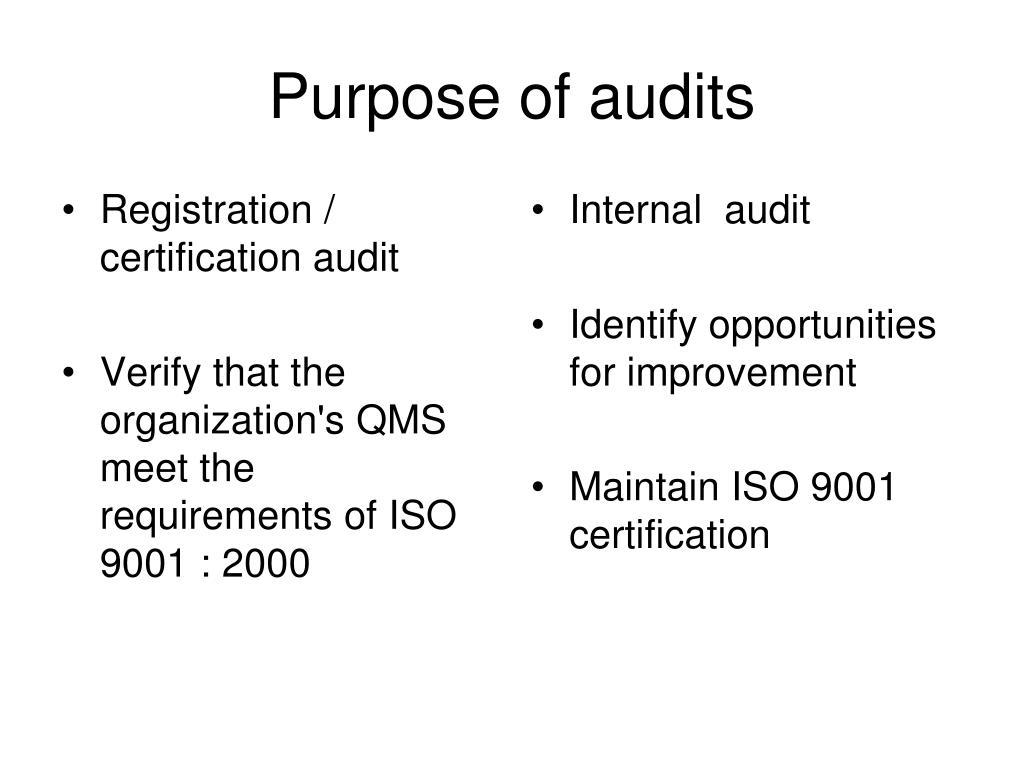 Registration / certification audit