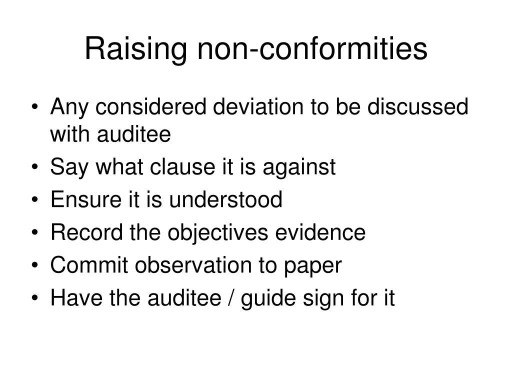 Raising non-conformities
