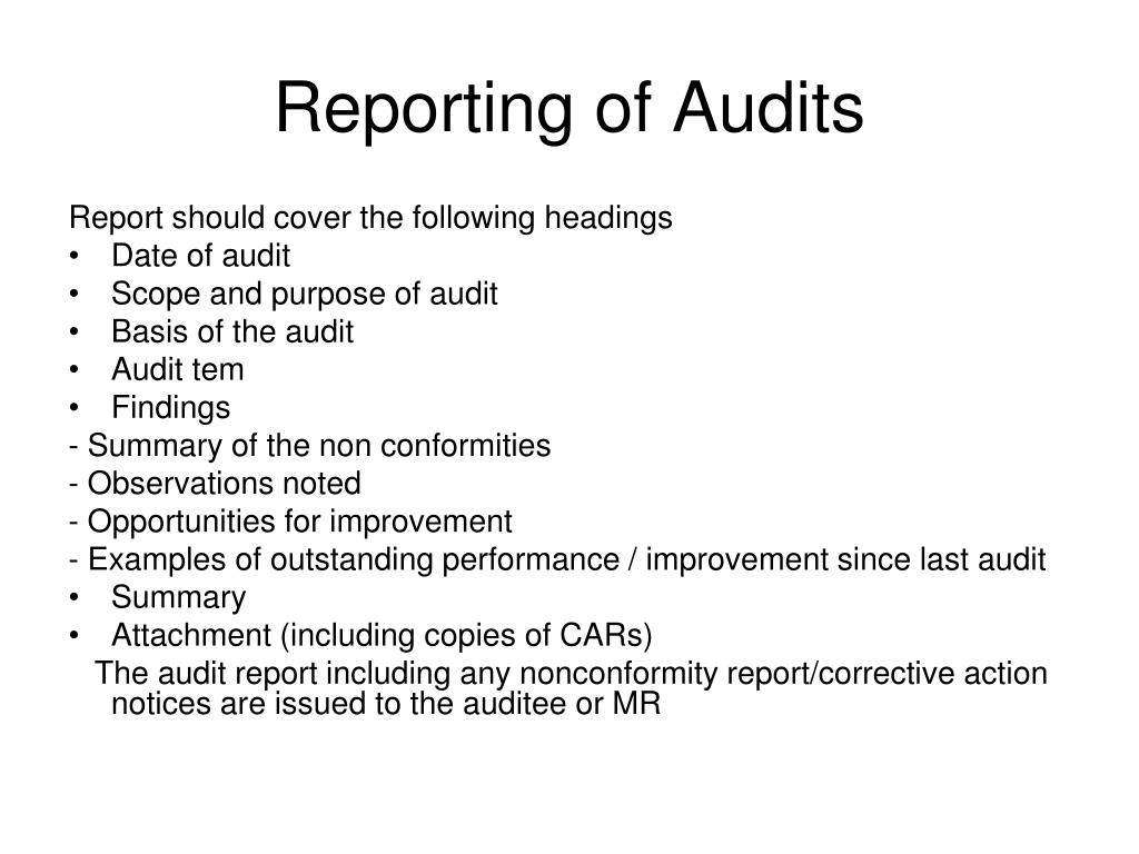 Reporting of Audits
