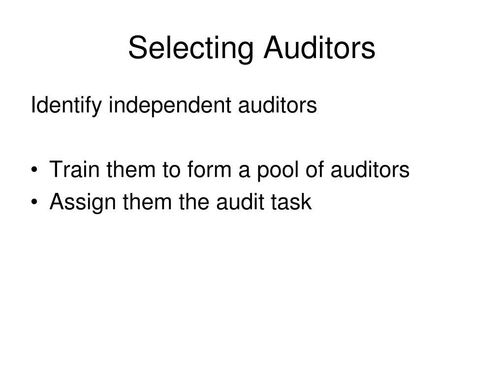 Selecting Auditors