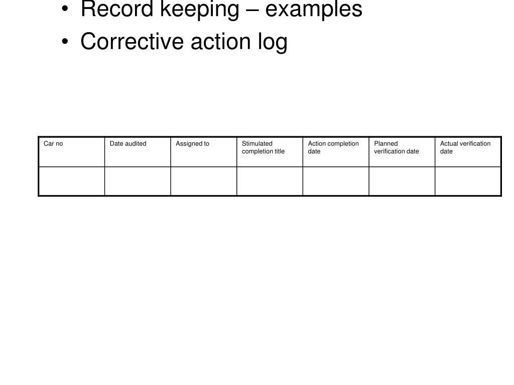Record keeping – examples