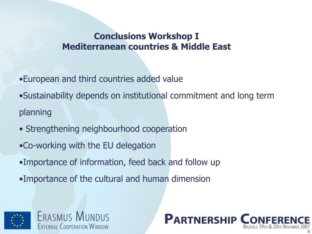 Conclusions Workshop I