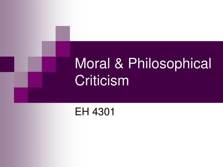 Moral philosophical criticism