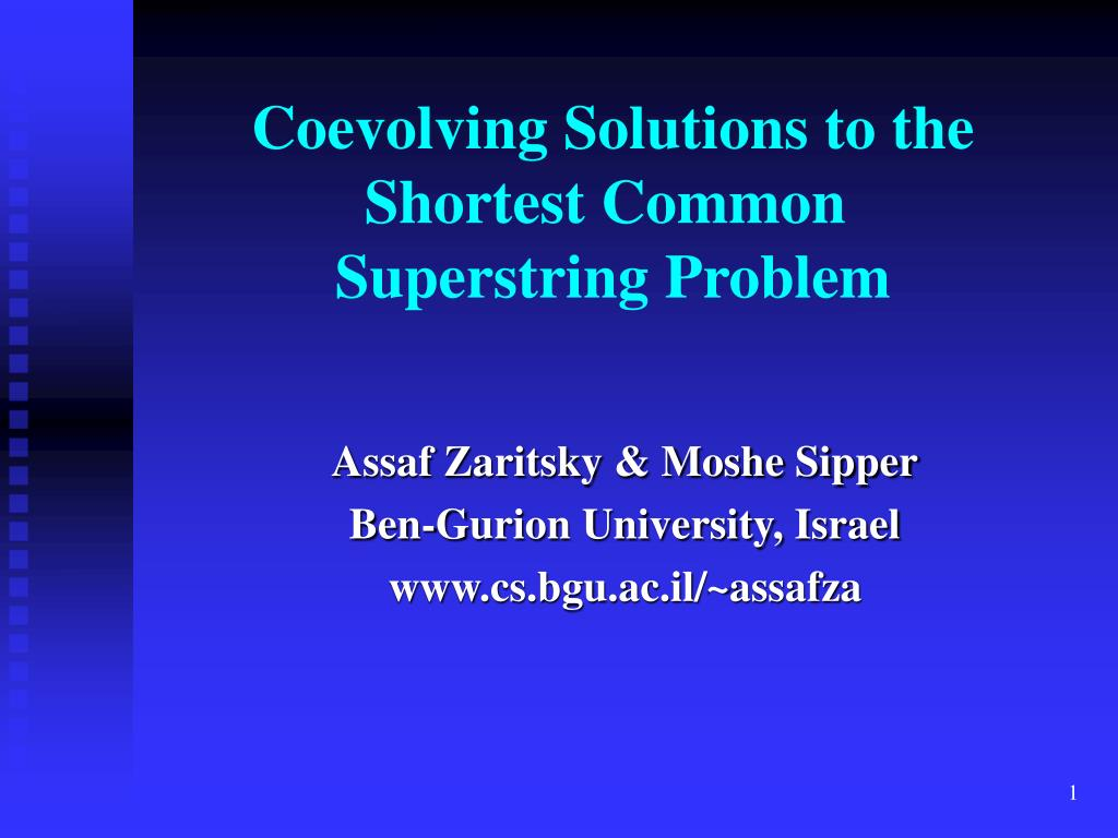 coevolving solutions to the shortest common superstring problem l.