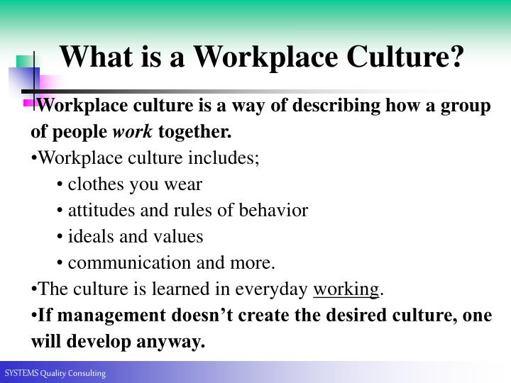 What is a Workplace Culture?