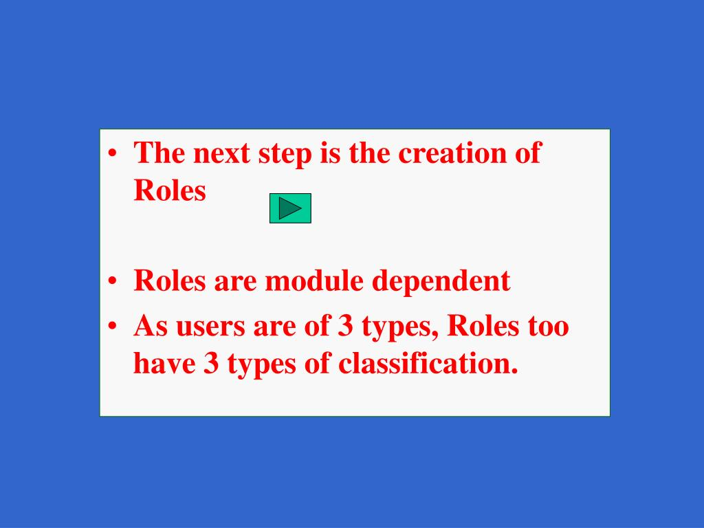 The next step is the creation of Roles