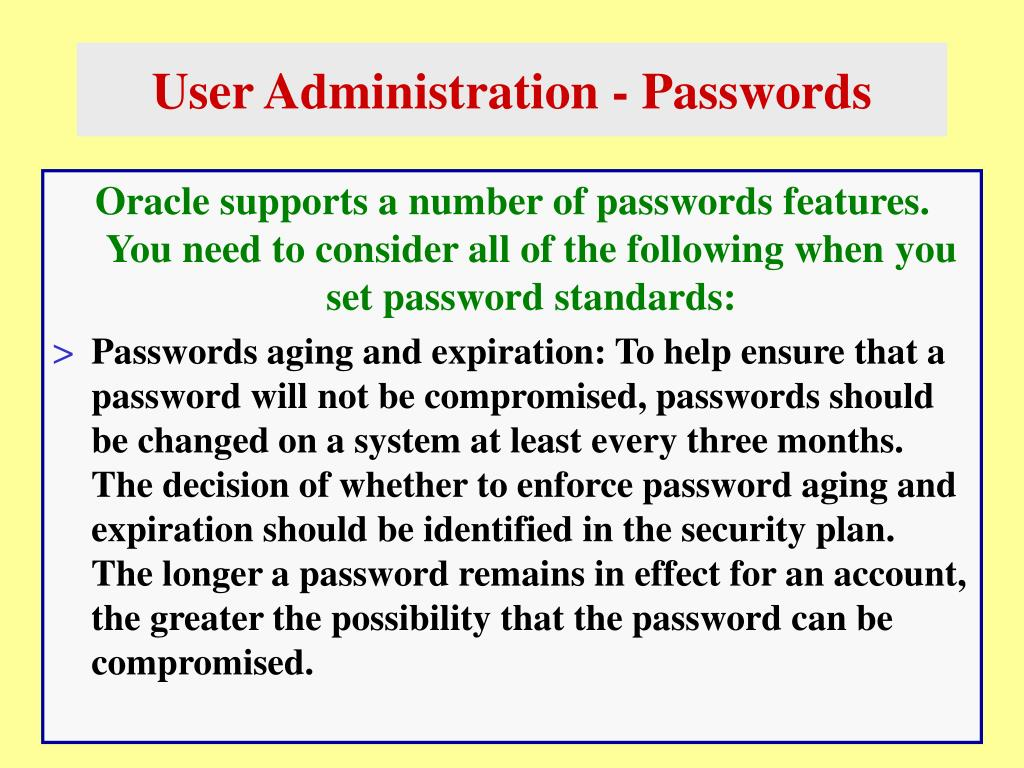 User Administration - Passwords