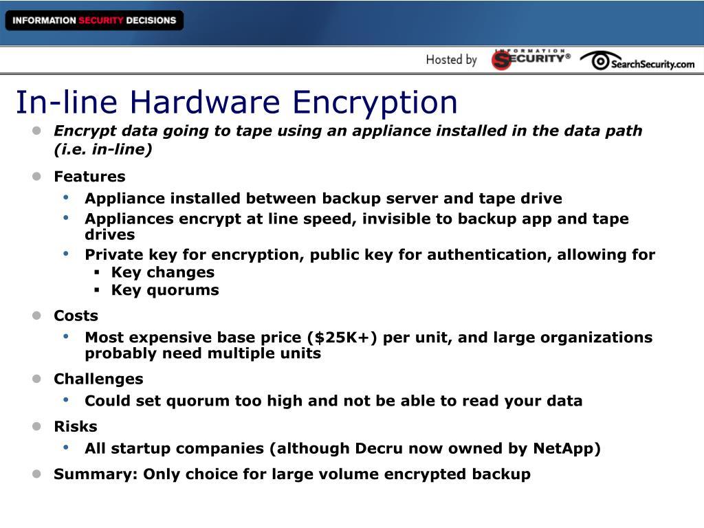 In-line Hardware Encryption