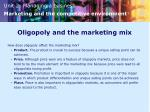 oligopoly and the marketing mix