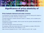 significance of price elasticity of demand 1