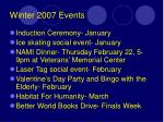 winter 2007 events
