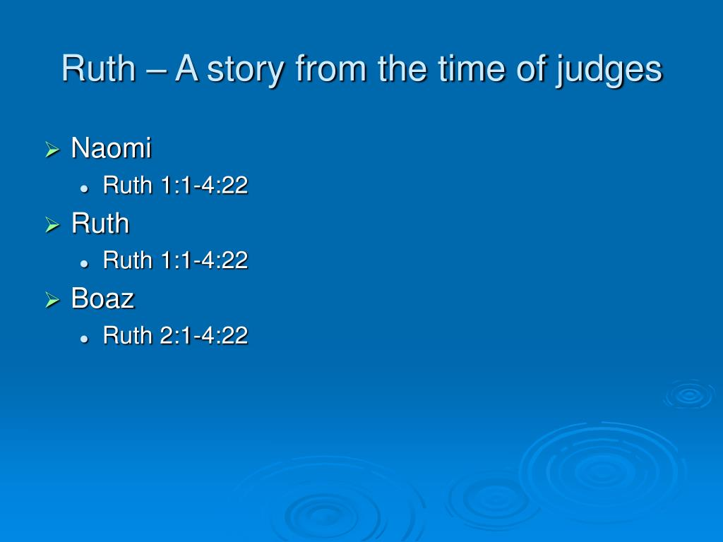 Ruth – A story from the time of judges