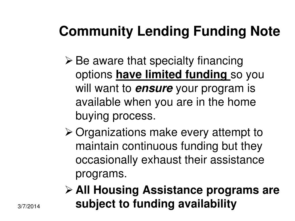 Community Lending Funding Note