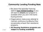 community lending funding note