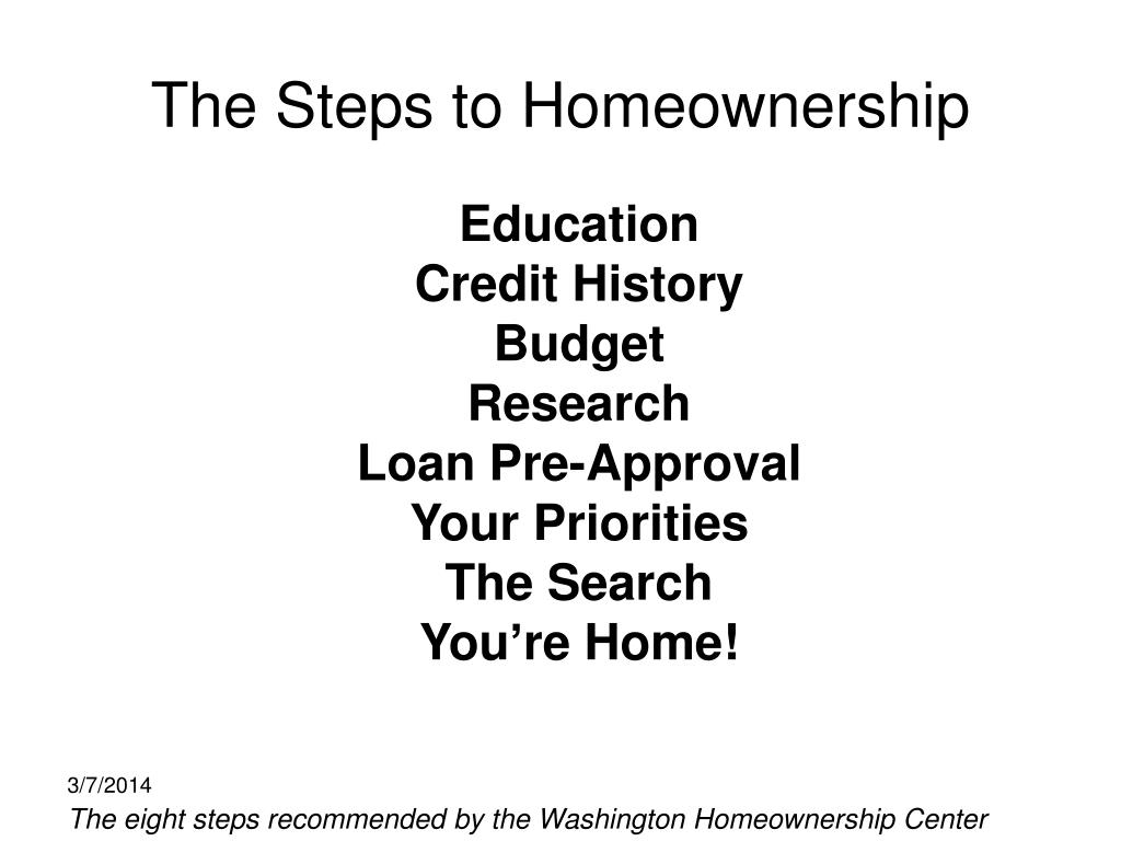 The Steps to Homeownership